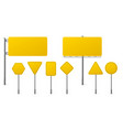 highway yellow road signs signage on steel poles vector image