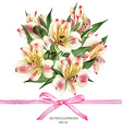 Invitation card with Alstroemeria flowers vector image vector image