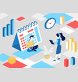 isometric business schedule concept with cartoon vector image