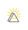 linked mountain sun linear icon vector image vector image