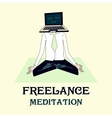 meditating freelancer working vector image