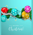 merry christmas card with xmas lights and baubles vector image vector image
