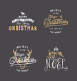 merry christmas typography quotes wishes set vector image vector image