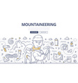 mountaineering doodle concept vector image vector image
