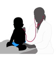 Pediatrician examining of baby with stethoscope vector image vector image