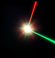 red and green laser beam vector image vector image