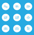 seo icons line style set with reputation vector image