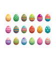 set of easter eggs flat design on white background vector image vector image