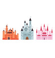 set pink and blue-gray and terracotta medieval vector image
