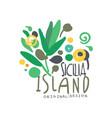 sicilia island logo template original design vector image vector image