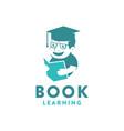 simple education logo kid reading book logo icon vector image