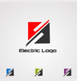 square electric logo icon element and template vector image