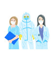 three doctors in protective disposable suits and vector image