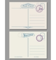 Travel vintage blank postcard with rubber stamps vector image