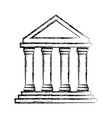 uncolored greek building vector image