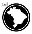 White map of brazil on black circle
