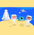 young astronauts on the moon vector image