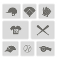 Monochrome set with baseball icons vector image
