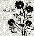 black flowers on gray damask background vector image