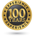 100 years experience gold label vector image