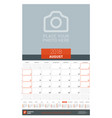 august 2018 wall monthly calendar planner for vector image vector image