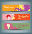 banners with stylish woman silhouette vector image vector image