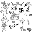 Birthday doodle for kids vector image