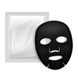 black facial mask cosmetics pack package vector image vector image