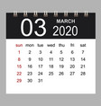 business calendar 2020 march notebook isolated vector image vector image