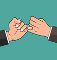 business hand pinky promise concept vector image vector image