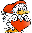 cartoon an happy christmas duck vector image