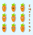 cartoon carrot cute character face sticker vector image vector image