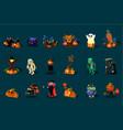 cartoon flat set of halloween icons black vector image