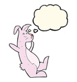 cartoon pink bunny with thought bubble vector image vector image