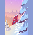 christmas santa claus in forest vector image