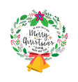 christmas wreath of plant leaves with decorations vector image
