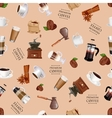 Coffee elements seamless pattern Coffee grinder vector image