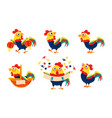 collection roosters with bright plumage in vector image vector image
