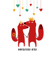 couple foxes in crowns vector image vector image