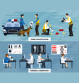 crime investigation flat banners vector image