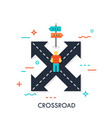 crossroad flat concept vector image vector image