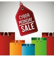 cyber monday sale label with bag vector image vector image