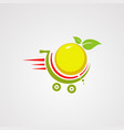 fast orange fruit on trolly logo icon element vector image vector image