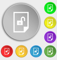 file locked icon sign Symbols on eight flat vector image