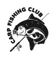 fishing camp emblem template with carp fish vector image vector image