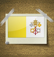 Flags Vatican CityHoly Seeat frame on a brick vector image