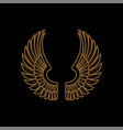 gold bird wings logo golden angel winged business vector image vector image