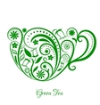 Green Cup of Tea With Floral Design vector image