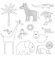 jungle animals digital stamps vector image