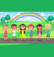 kids with raised hands celebrate 1 june in park vector image vector image